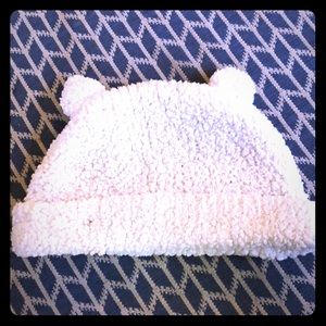 Fluffy White Baby Gap Teddy Bear Hat